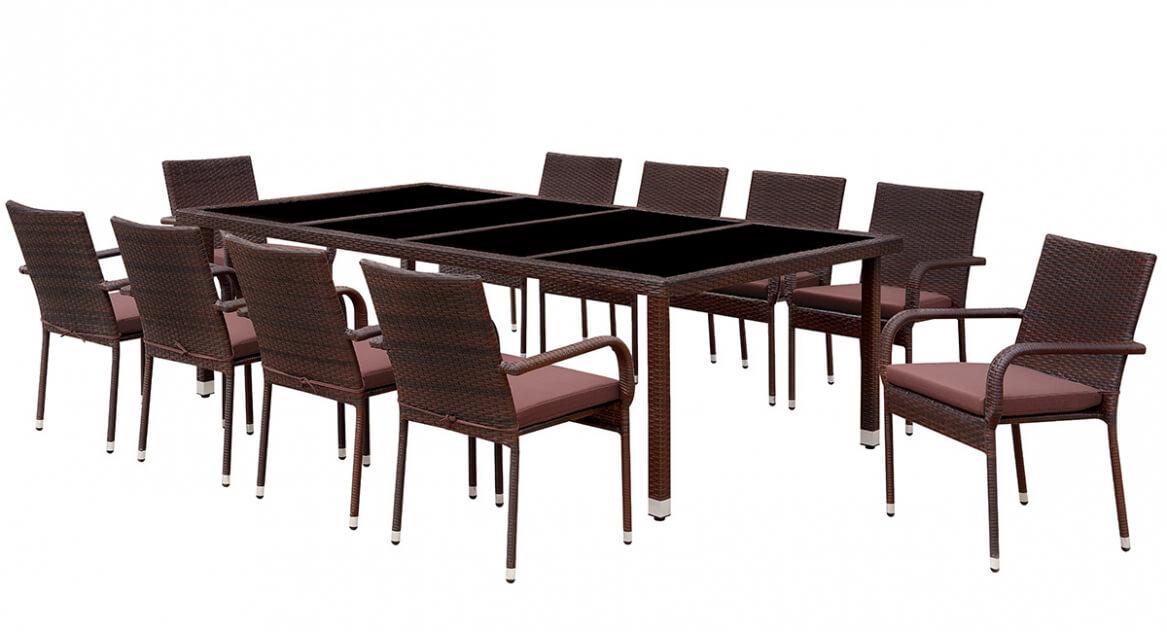 Обеденный комплект из искусств. ротанга Корсо-8 (Corso-8) (ротанг - серый, подушки - серые)